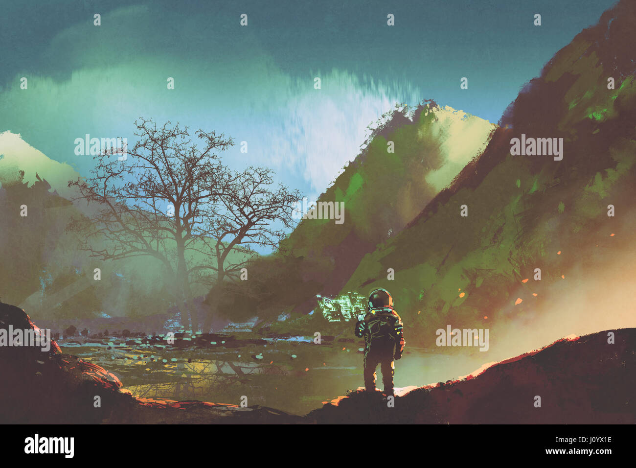sci-fi concept of the astronaut exploring living things on the planet, illustration painting - Stock Image