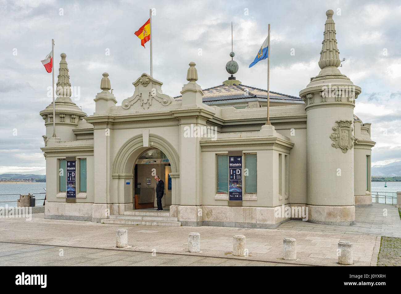 The Palacete del Embarcadero, building of the city of Santander, on the promenade, and gardens of Pereda, Cantabria, - Stock Image
