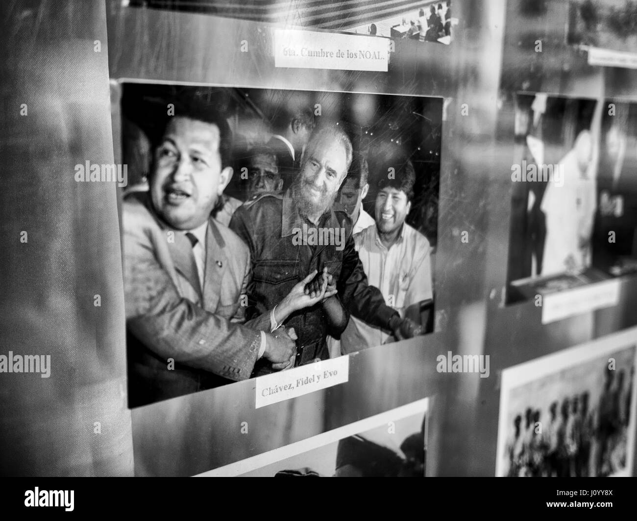 Photo of Castro, Cháve and Morales in a school in Havana, Cuba - Stock Image