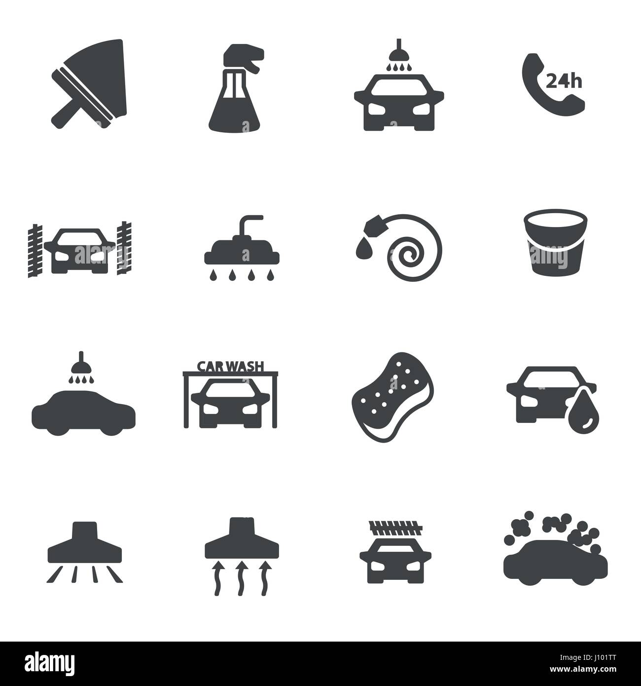 Vector Black Car Wash Icons Set On White Background Stock Vector Art