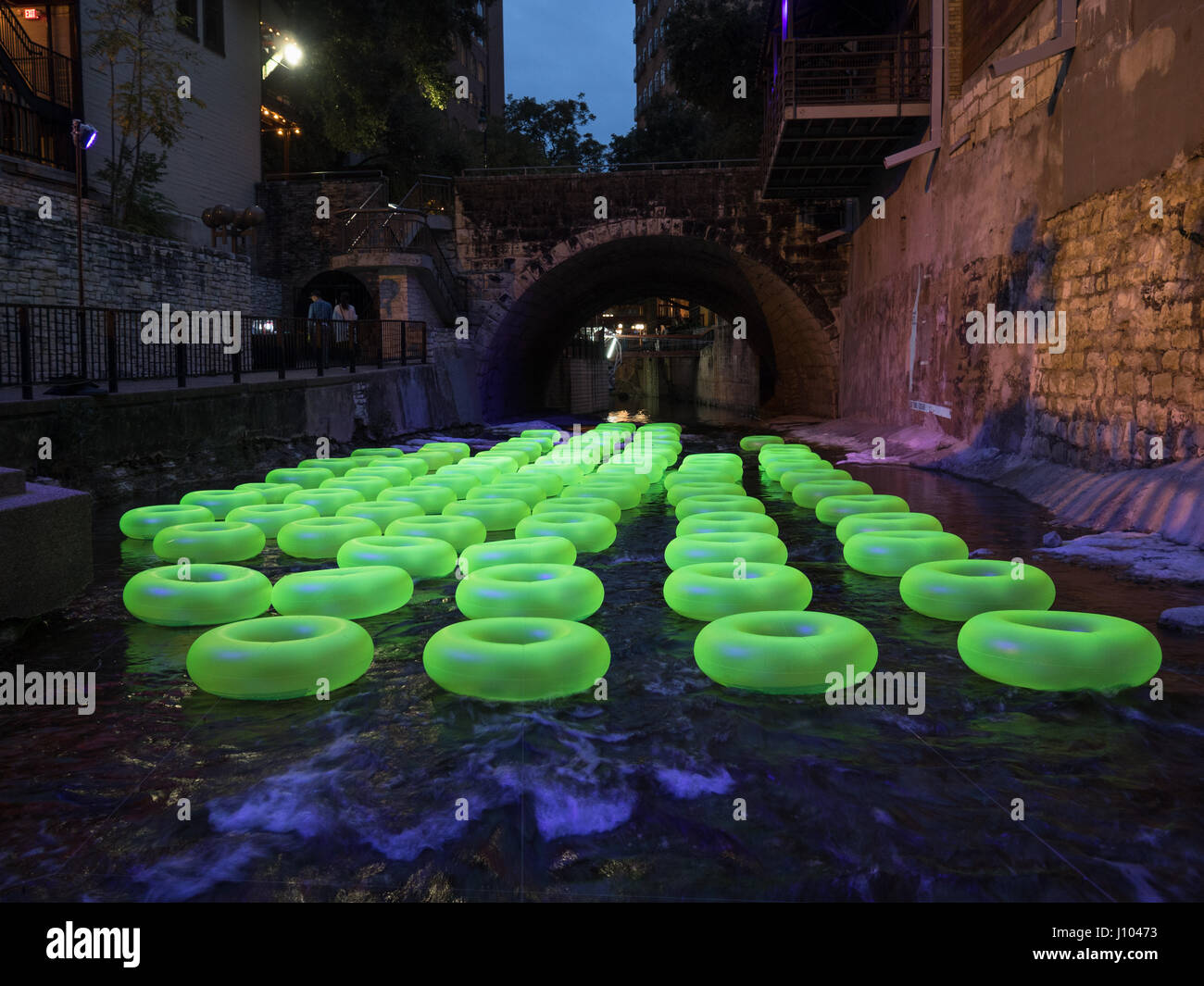 "Public art exhibit ""Floating the Waller"" by Ten Eyck at the 2016 Waller Creek Show in Austin, Texas - Stock Image"