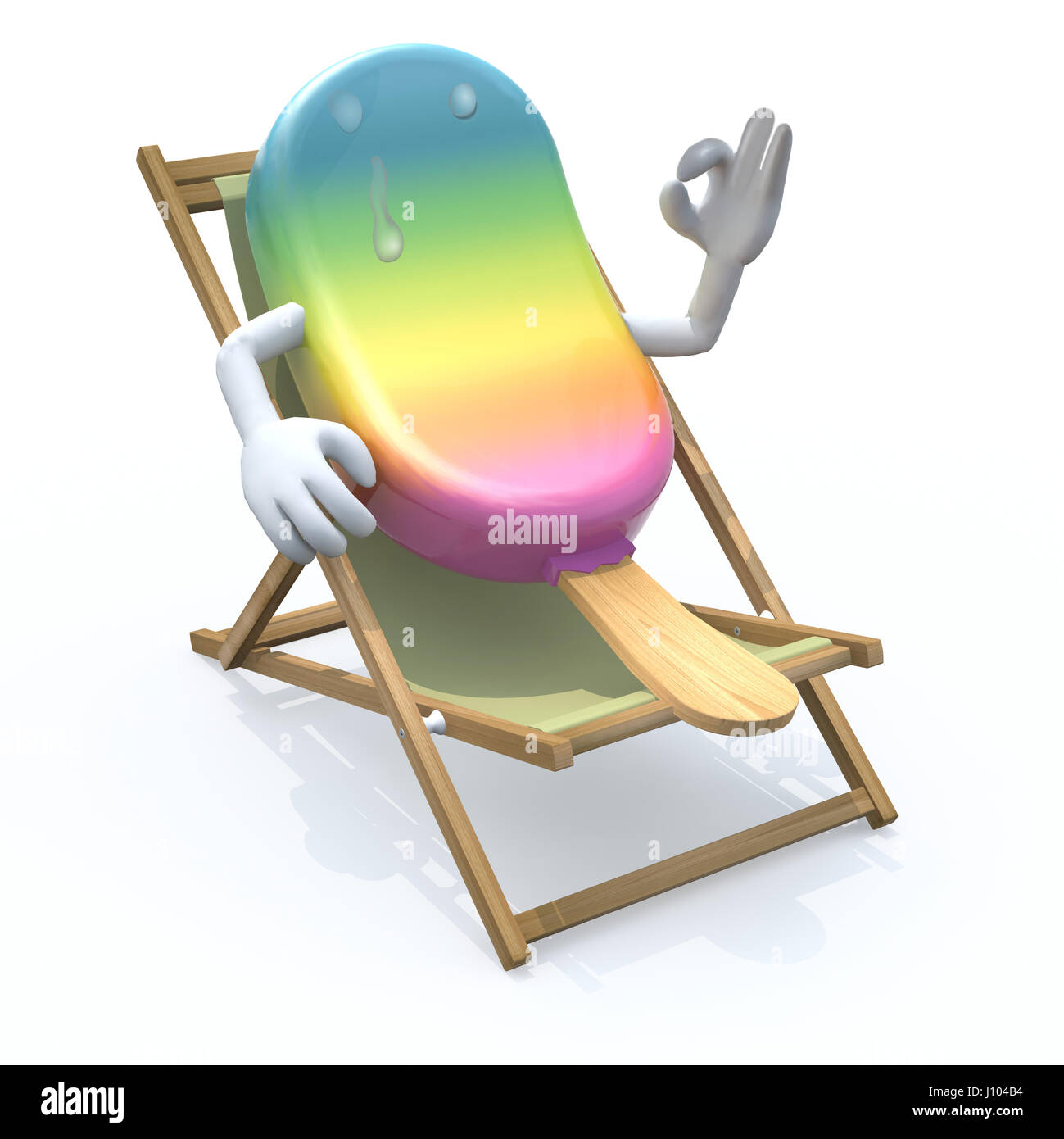 ice lolly cartoon that rest in beach chair 3d illustration  sc 1 st  Alamy & ice lolly cartoon that rest in beach chair 3d illustration Stock ...