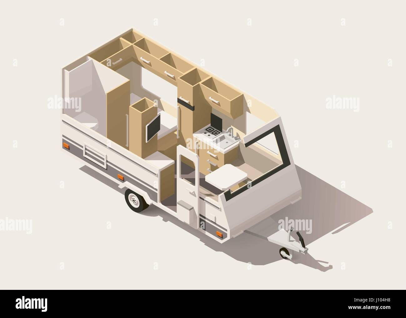 Vector Isometric Low Poly Camper Trailer