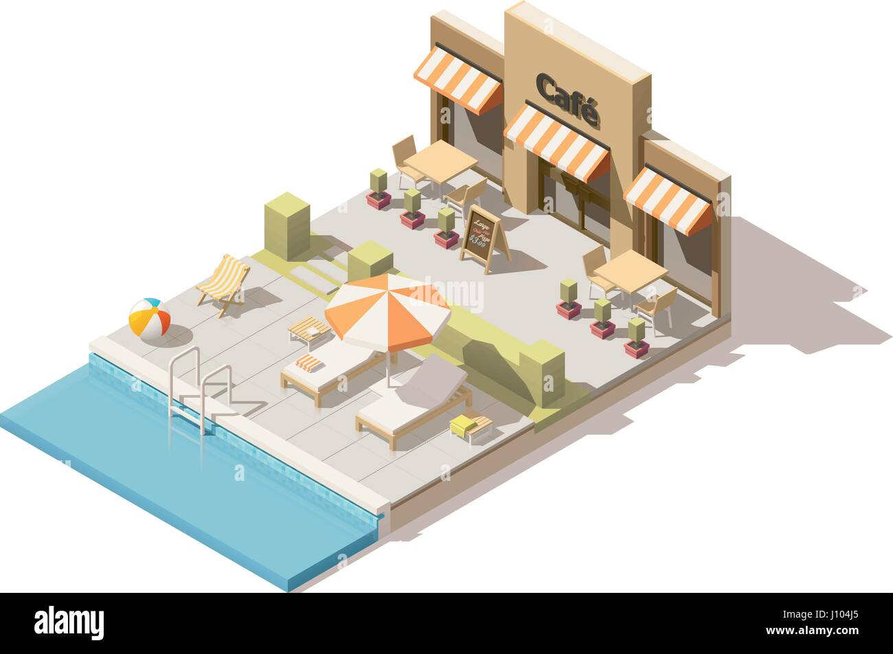 Vector isometric low poly swimming pool and cafe Stock Vector Art ...