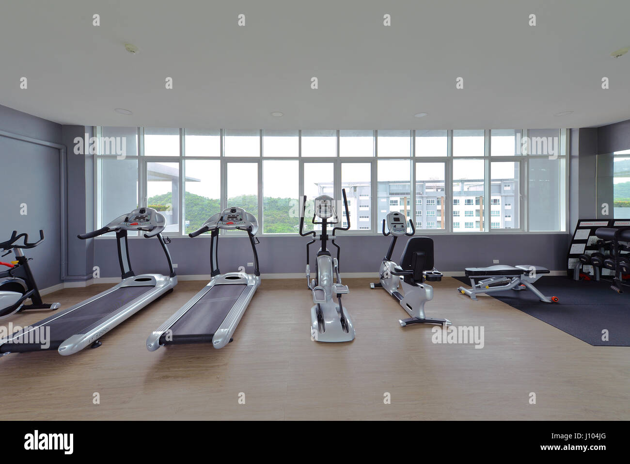 Modern fitness center interior design luxury gym stock photo