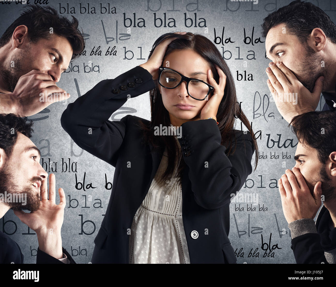 Woman from too much chatter - Stock Image