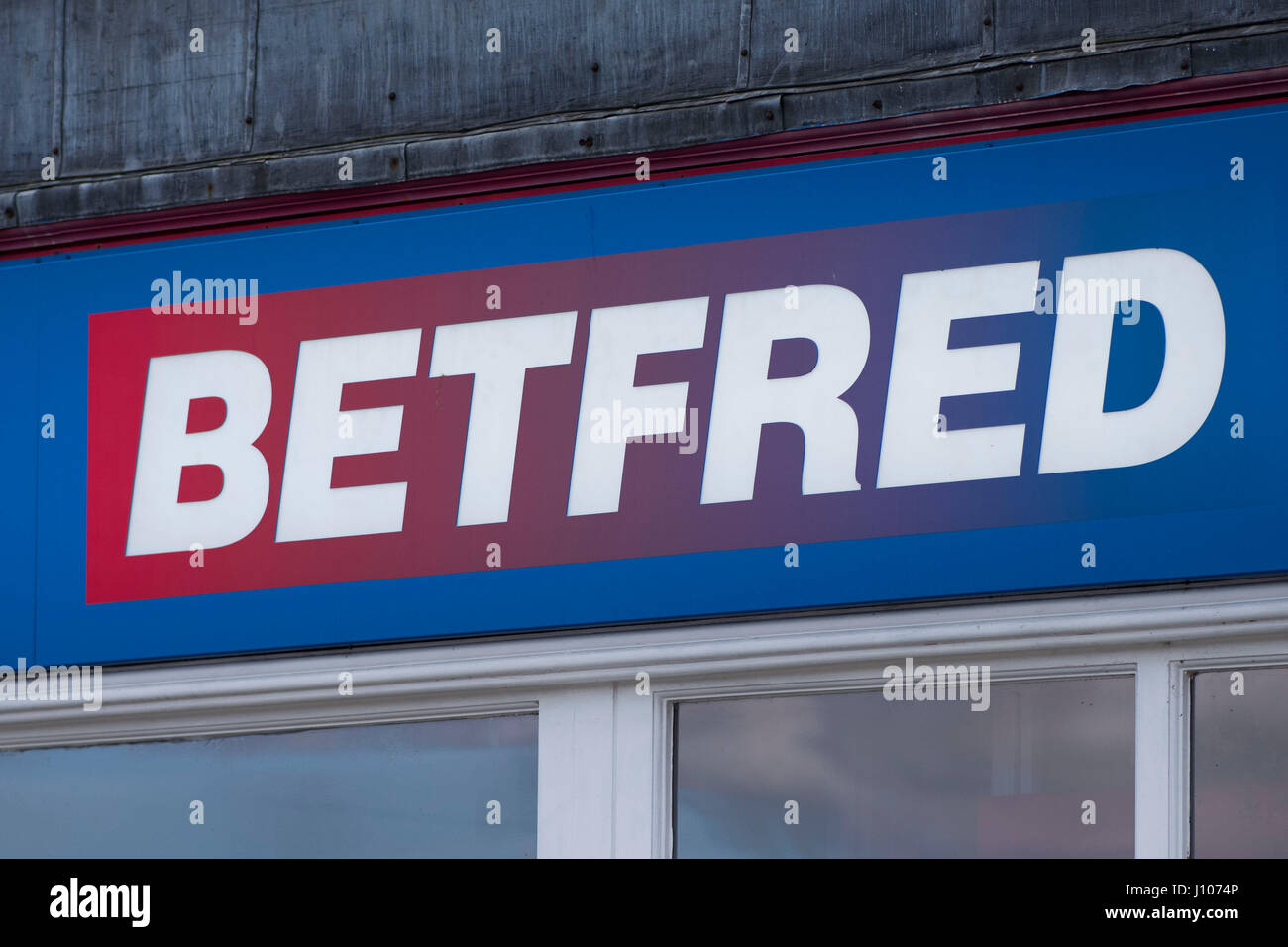 Betfred bookies sign logo. - Stock Image