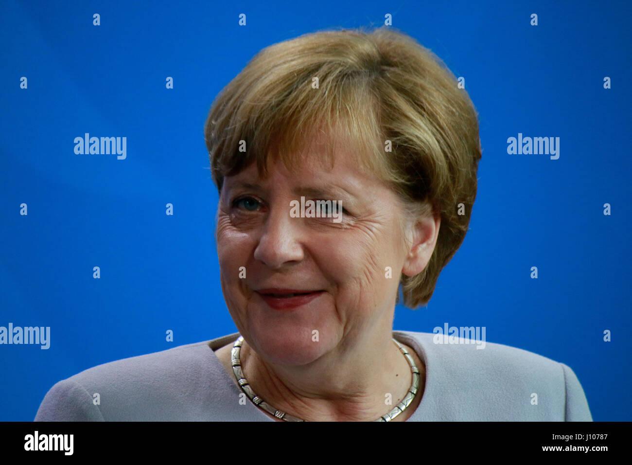 BKin Angela Merkel - Treffen der dt. Bundeskanzlerin mit dem ukrainischen Ministerpraesidenten, Bundeskanzleramt, - Stock Image