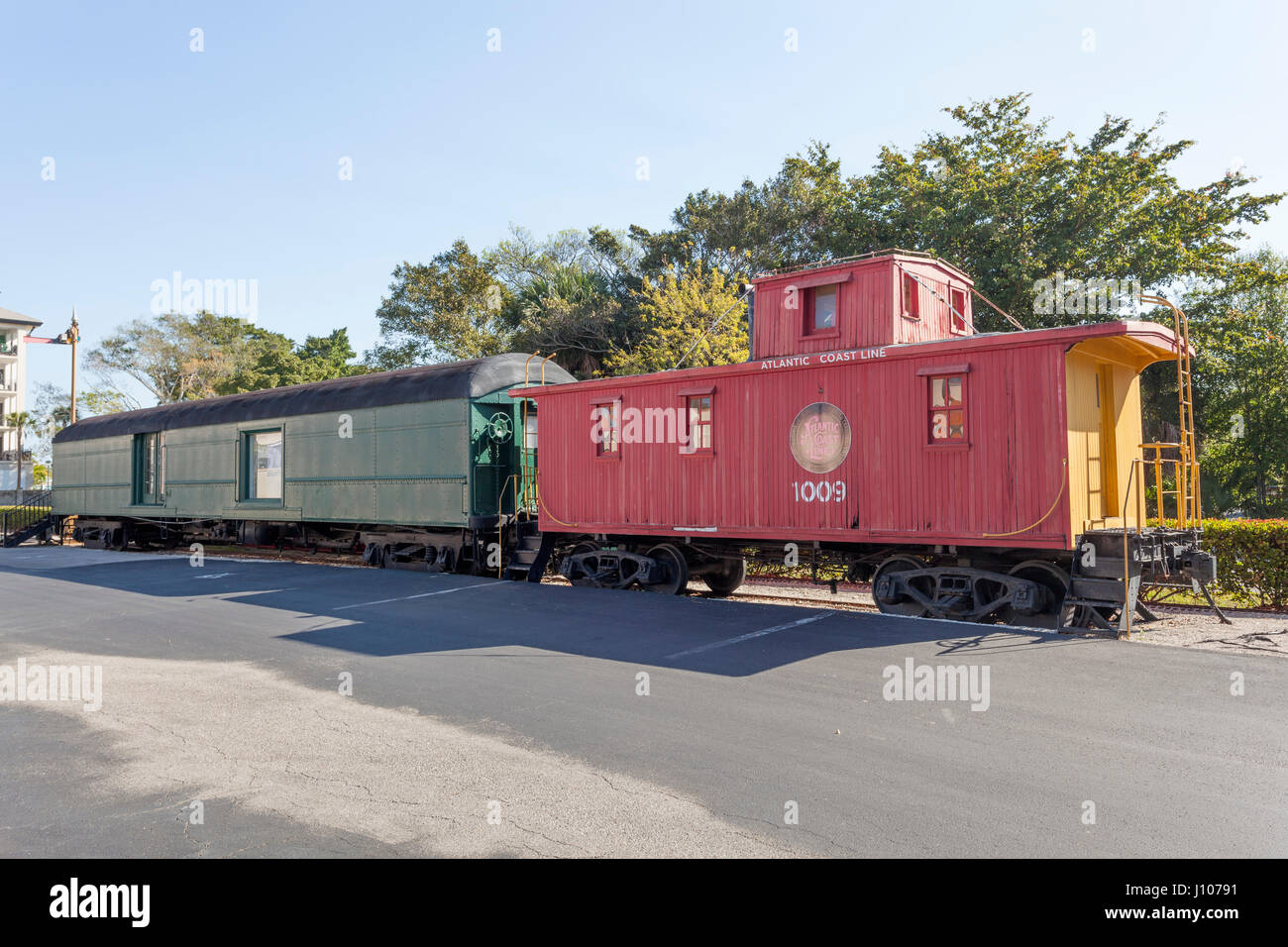 Naples, Fl, USA - March 21, 2017: Old waggons from the Atlantic Coast Line at the Naples depot and train museum. - Stock Image