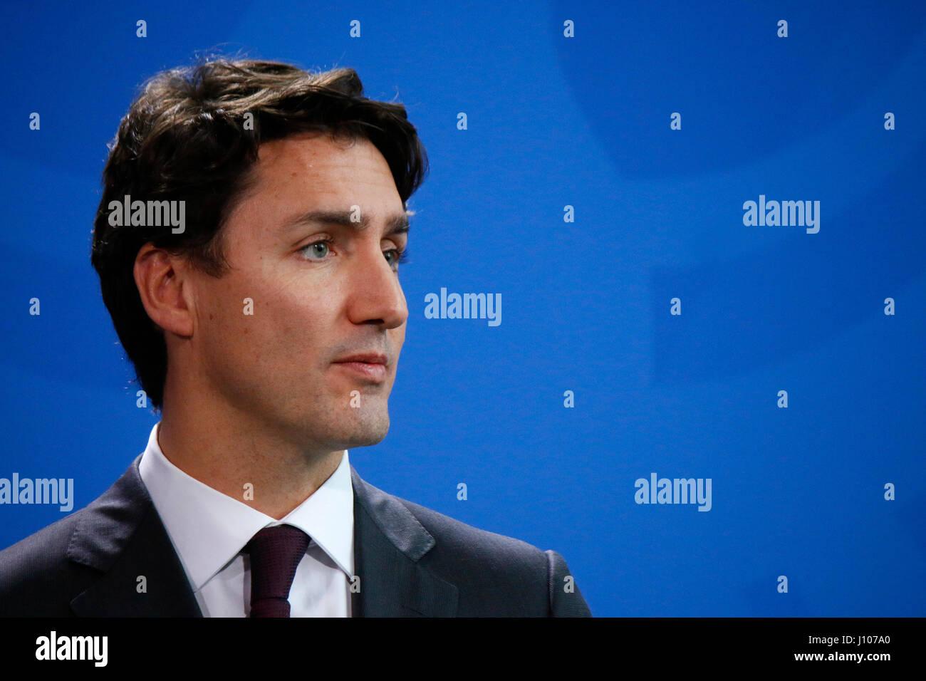 Justin Trudeau - Treffen der dt. Bundeskanzlerin mit  dem kanadischen Premierminister, Bundeskanzleramt, 17. Februar - Stock Image