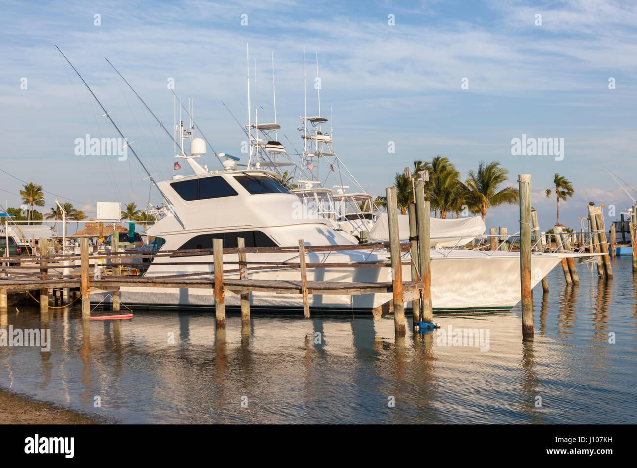 Deep sea fishing boats in the marina of Marathon Key. Florida, United States - Stock Image