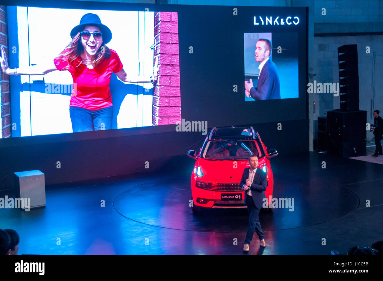 Shanghai, China. 16th April, 2017. David Green Chief Digital Officer talks about LYNK & CO 01 connectivity at - Stock Image