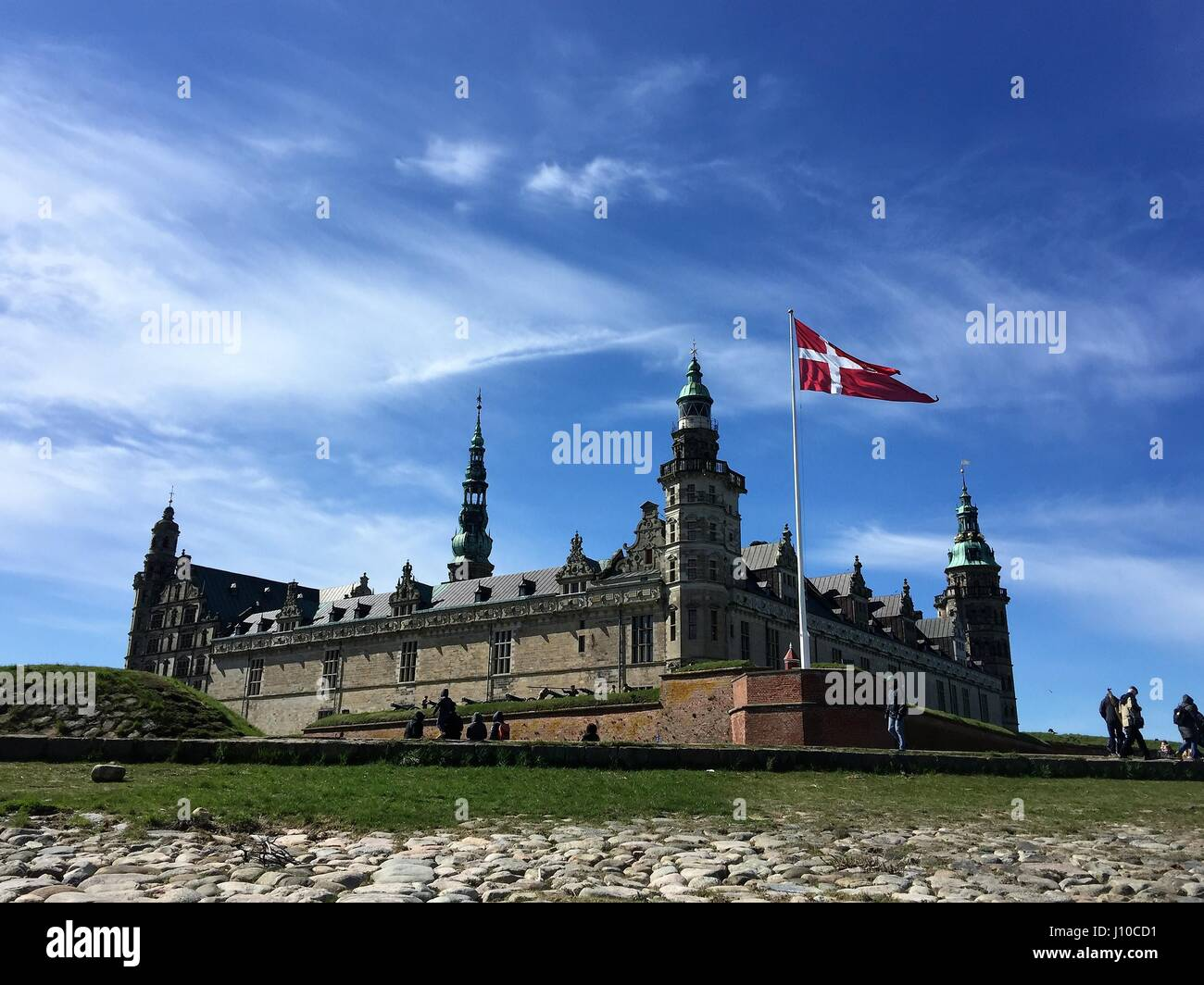 Elsinore, Denmark. 16th Apr, 2017. Cannons are fired with 27 shots as a salute to the Queen Margrethe II of Denmark, - Stock Image