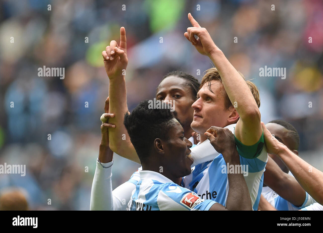 Munich, Germany. 16th Apr, 2017. Munich's Kai Buelow (R) celebrates his 1-0 goal with teammates Lumor (L-R) and Stock Photo