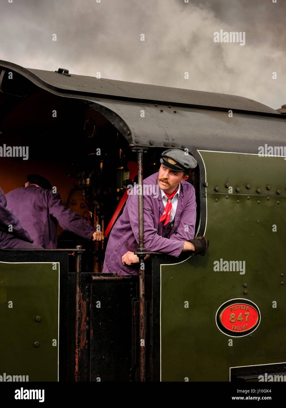 The Flying Scotsman visits the Bluebell Railway in East Sussex. The Bluebell was the first standard guage preservation - Stock Image