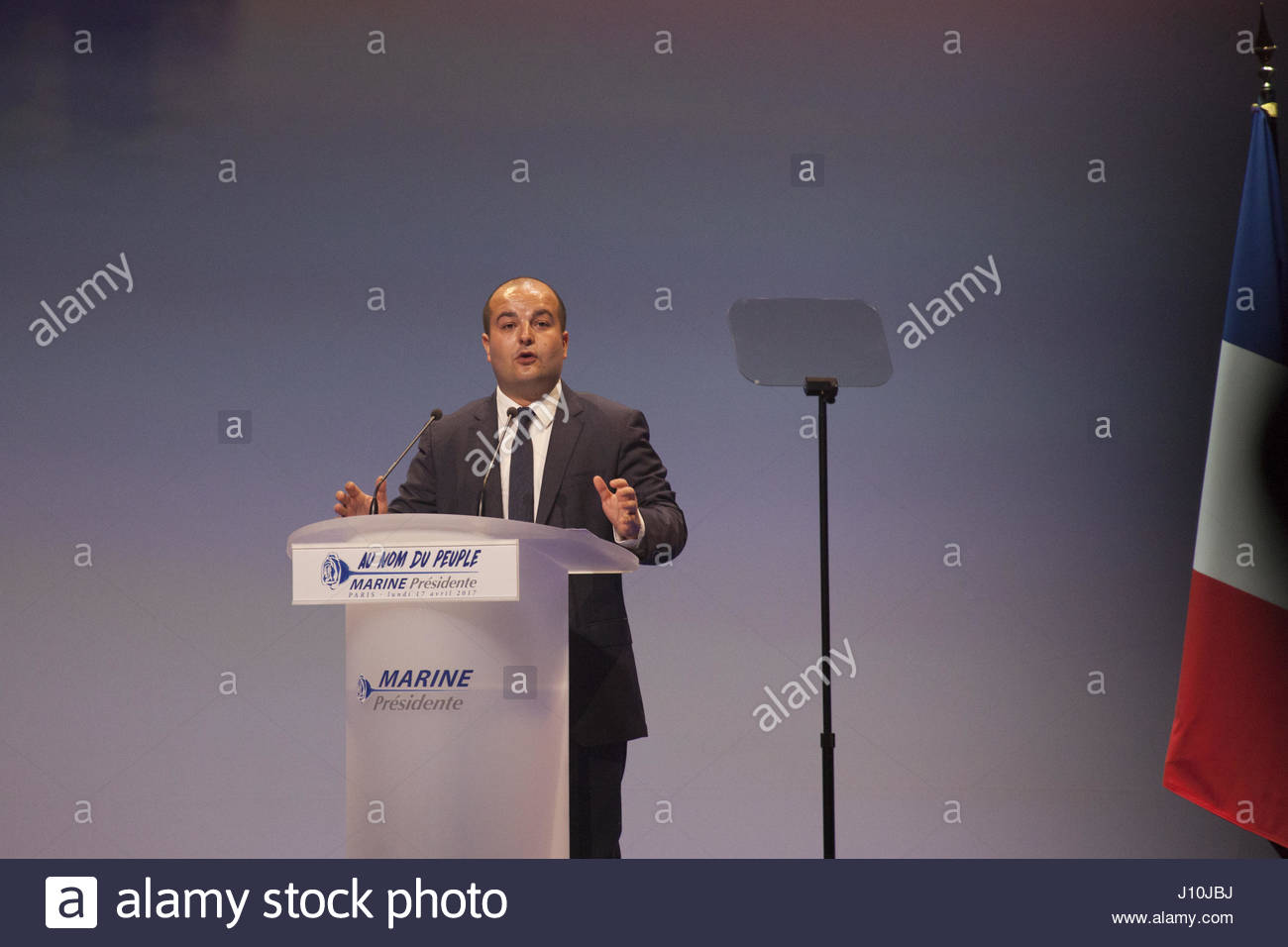 Paris, France. 17th Apr, 2017. French far-right party Front National (FN) senator, mayor of Frejus and FN presidential - Stock Image