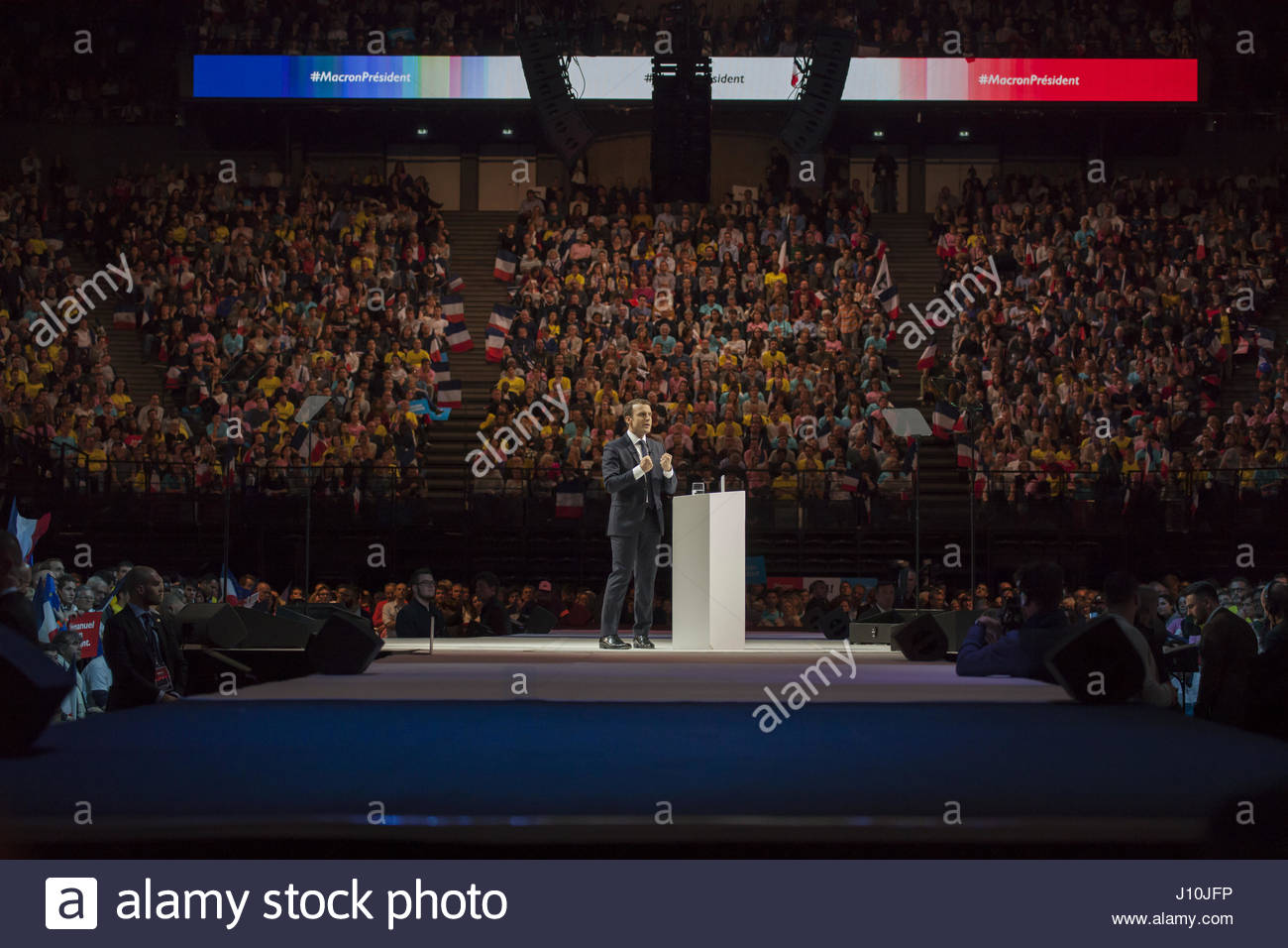 Paris, France. 17th Apr, 2017. French presidential candidate Emmanuel Macron delivers a speech during a campaign - Stock Image