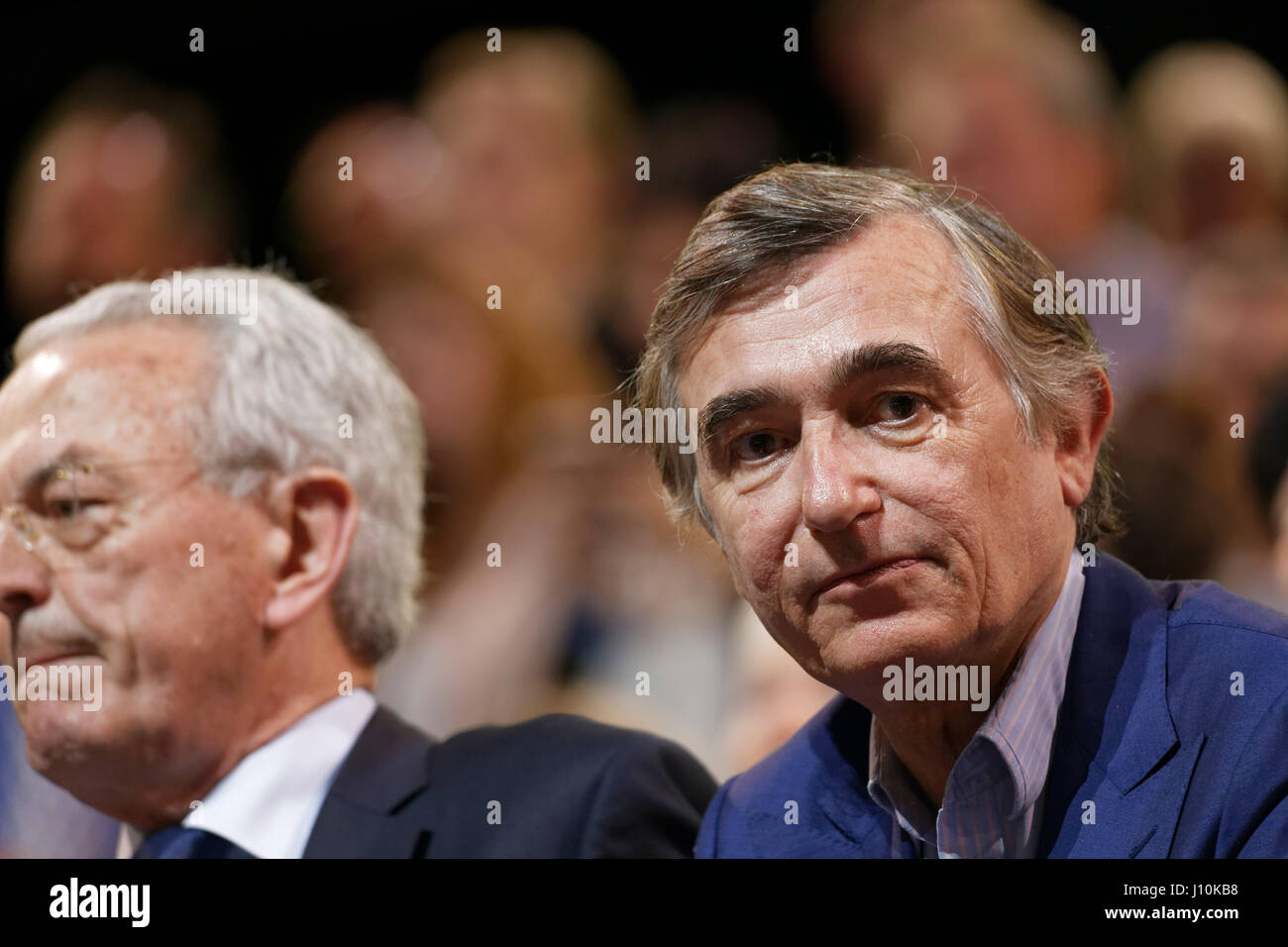 Paris, France. 17th April, 2017. Philippe Douste-Blazy attends last big meeting of Emmanuel Macron in Paris Bercy - Stock Image