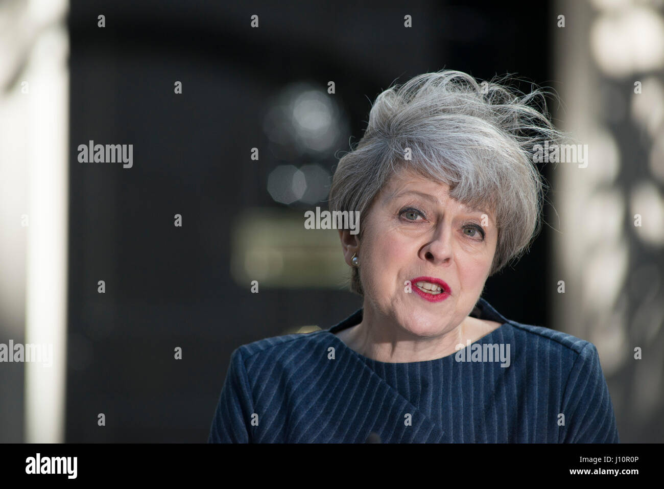 Downing Street, London UK. 18th April, 2017. PM Theresa May announces a snap election for 8th June 2017 in order - Stock Image