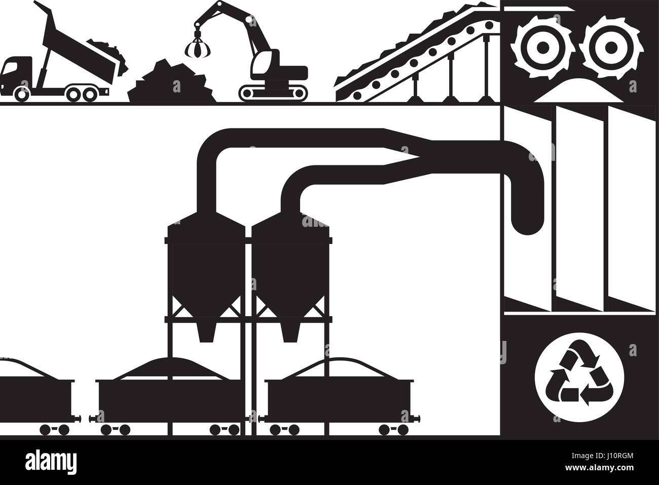 Recycling and processing of scrap metal - vector illustration - Stock Vector