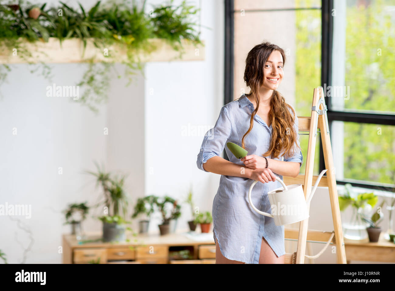 Woman on the ladder in orangery Stock Photo