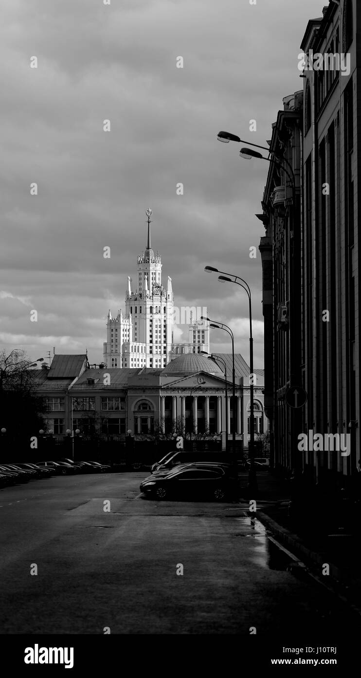 Residential building on Kotelnicheskaya Stalinist skyscraper in Moscow, is at the mouth of the Yauza river black Stock Photo