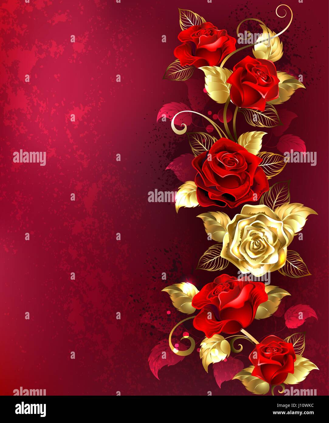 Vertical composition of red and gold jewelry roses with gold leaves