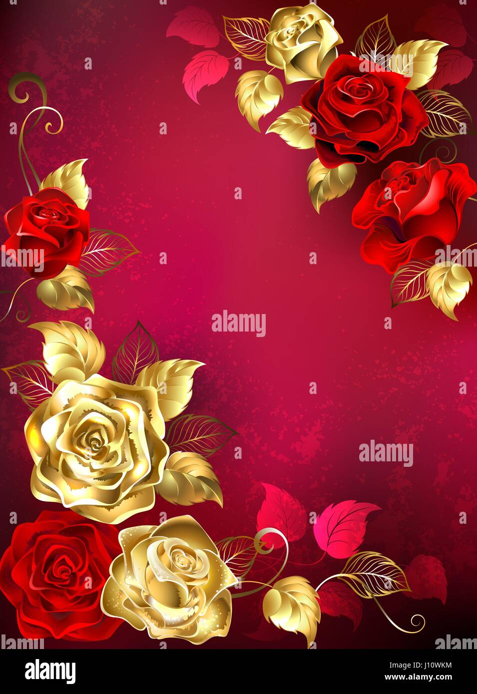 Greeting card with red and gold jewelry roses with gold leafs on a