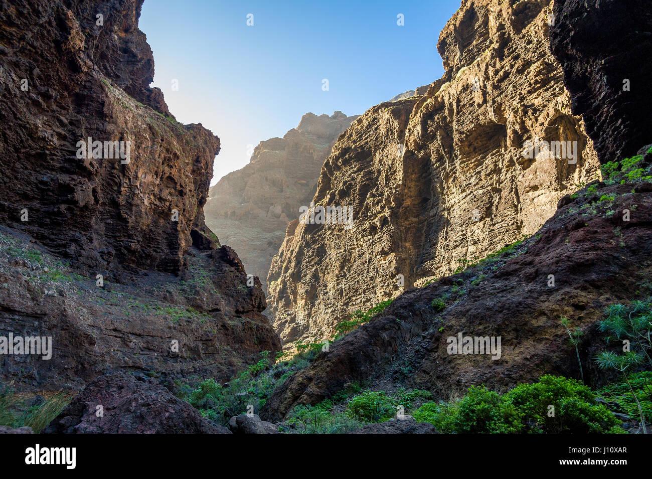 Evening at Masca rocks, Tenerife - Stock Image