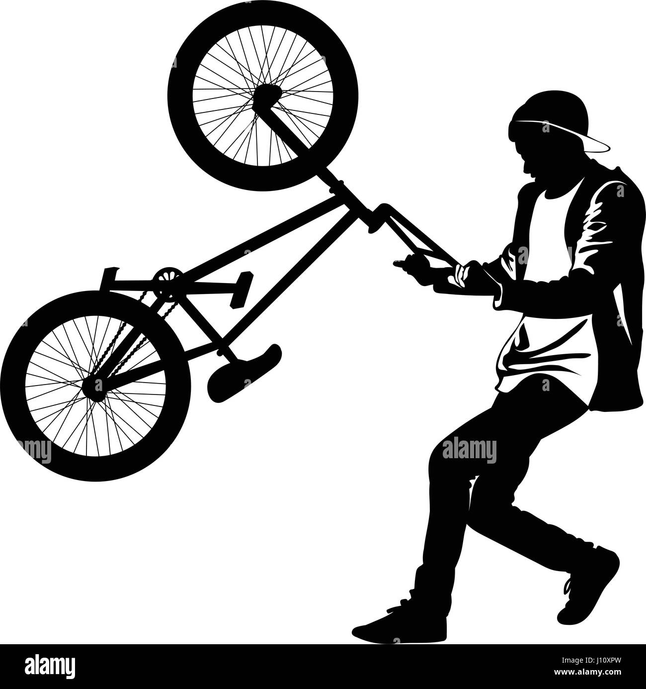 Silhouette of a teenager with a bicycle standing on the rear wheel- vector - Stock Vector