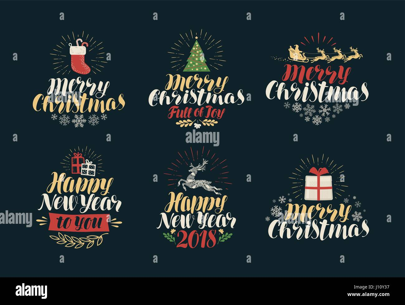 merry christmas and happy new year label set xmas icons or logos lettering vector illustration