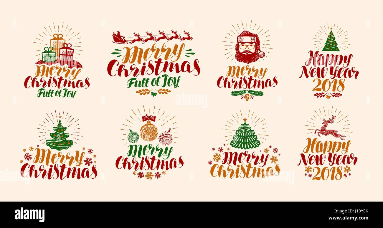 merry christmas and happy new year lettering xmas yuletide holiday label set or icons calligraphy vector illustration