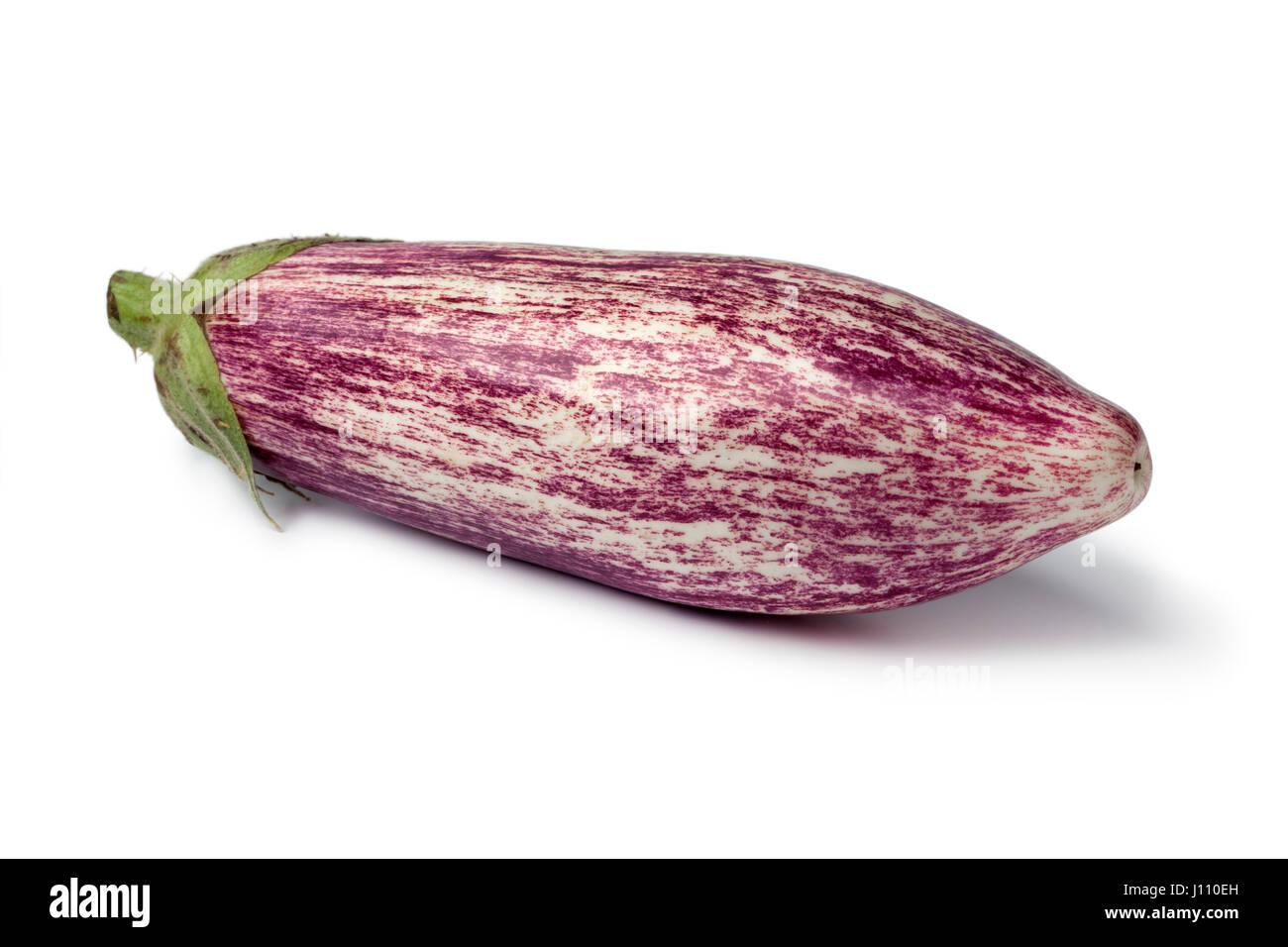 Single graffiti fresh eggplant on white background stock image