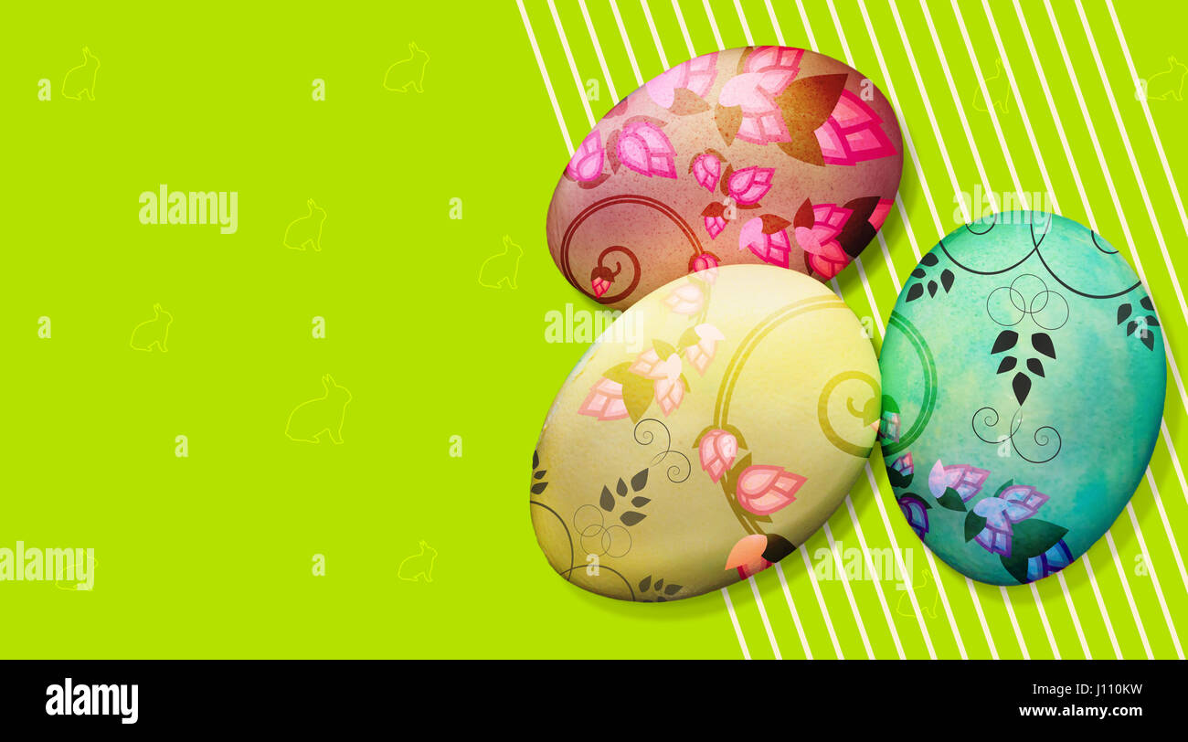 colorful Easter eggs background with flower pattern - Stock Image
