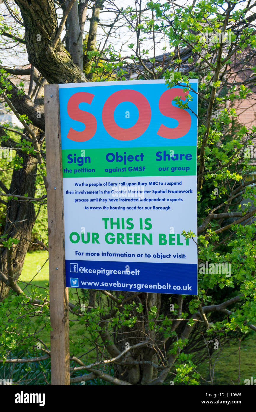 Save Burys Greenbelt Sign outside a house in Bury - Stock Image