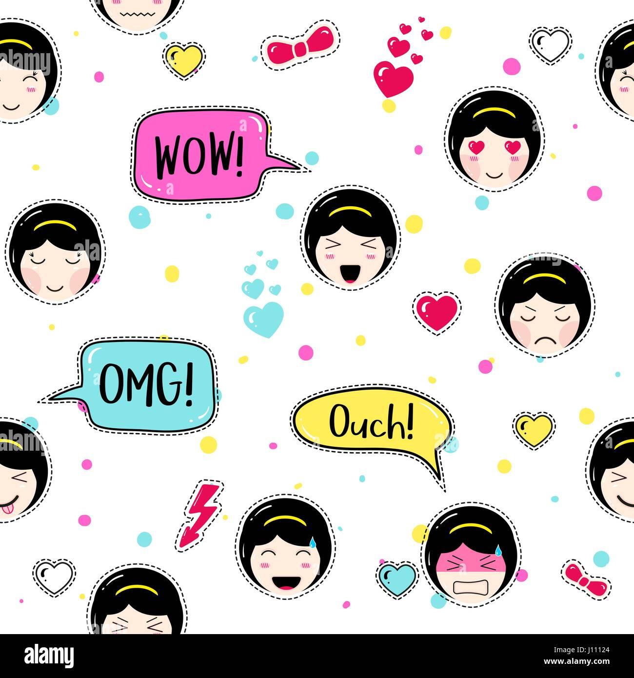 Anime style seamless pattern  Cute emoji girls Stock Vector
