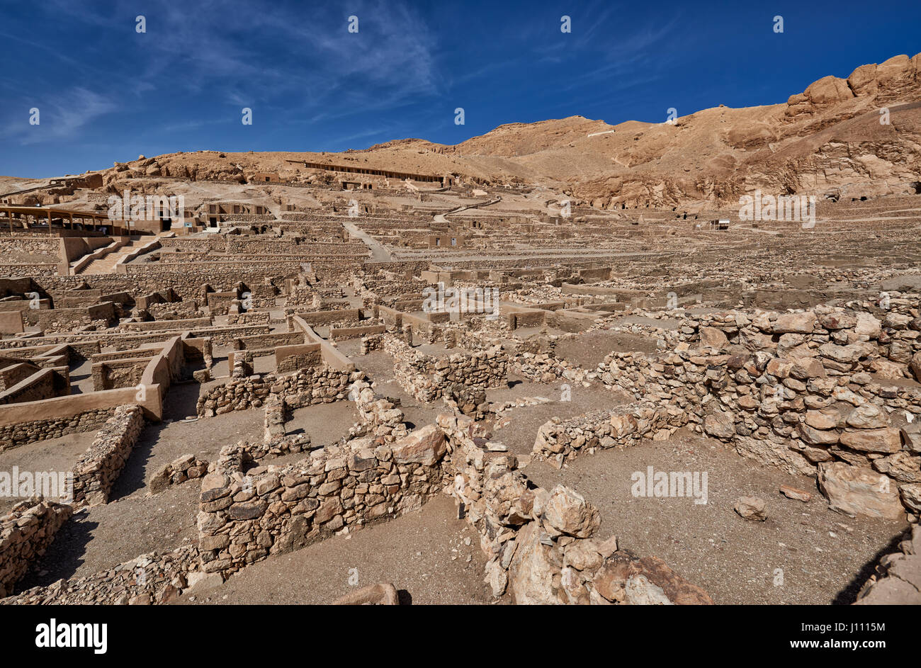Deir el-Medina, ancient Egyptian village was home to the artisans who worked on the tombs in the Valley of the Kings, - Stock Image