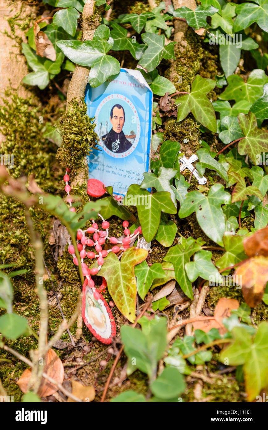 Mass card for Saint Charles with rosary beads and a solver crucifix on a tree at an Irish holy well shrine - Stock Image