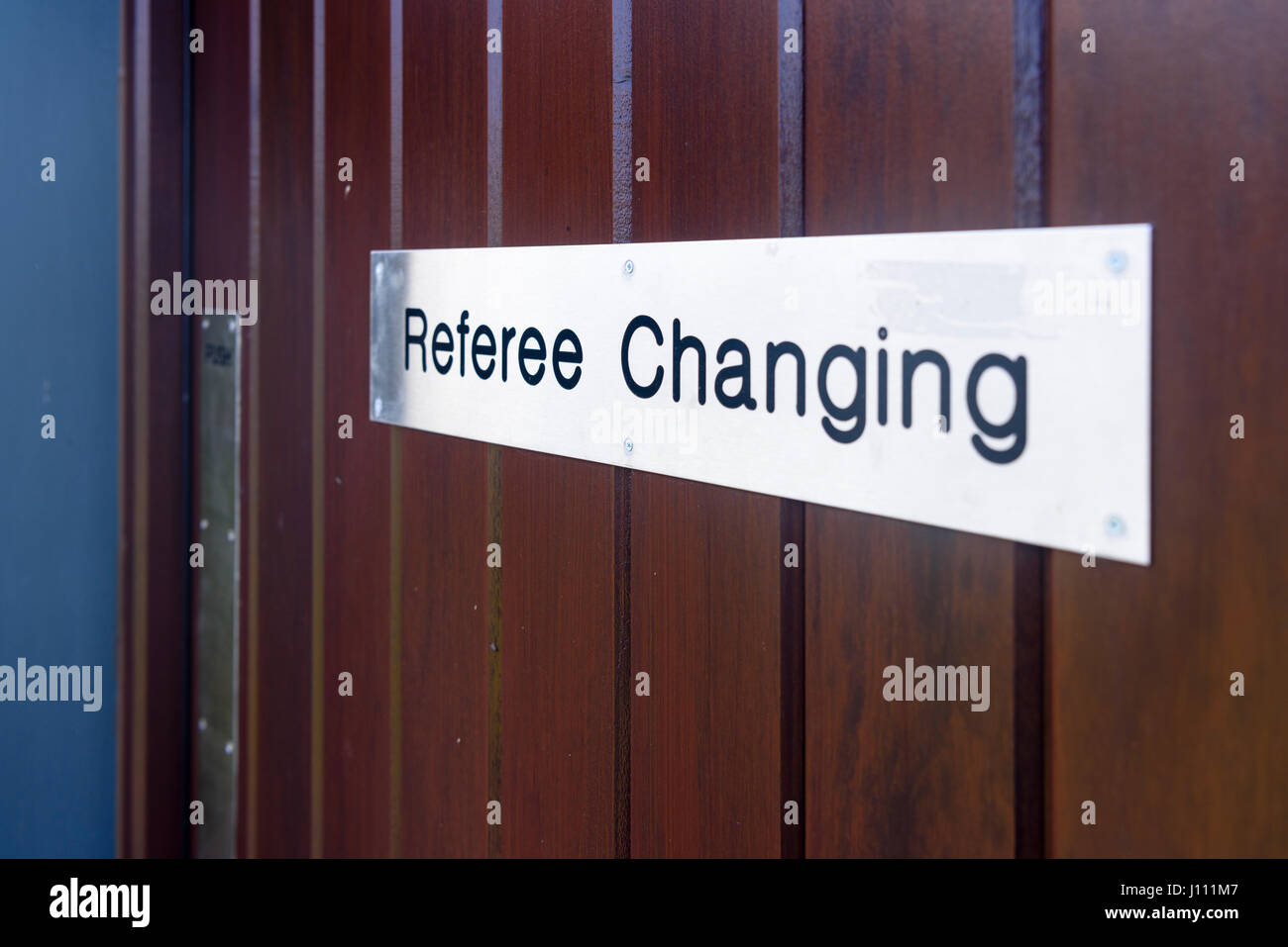 Sign on the door of a Referee's Changing Room - Stock Image