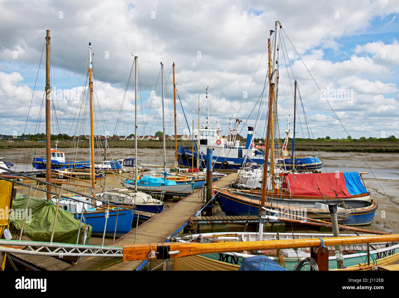 Boats in Tollesbury Marina, Essex, England UK Stock Photo