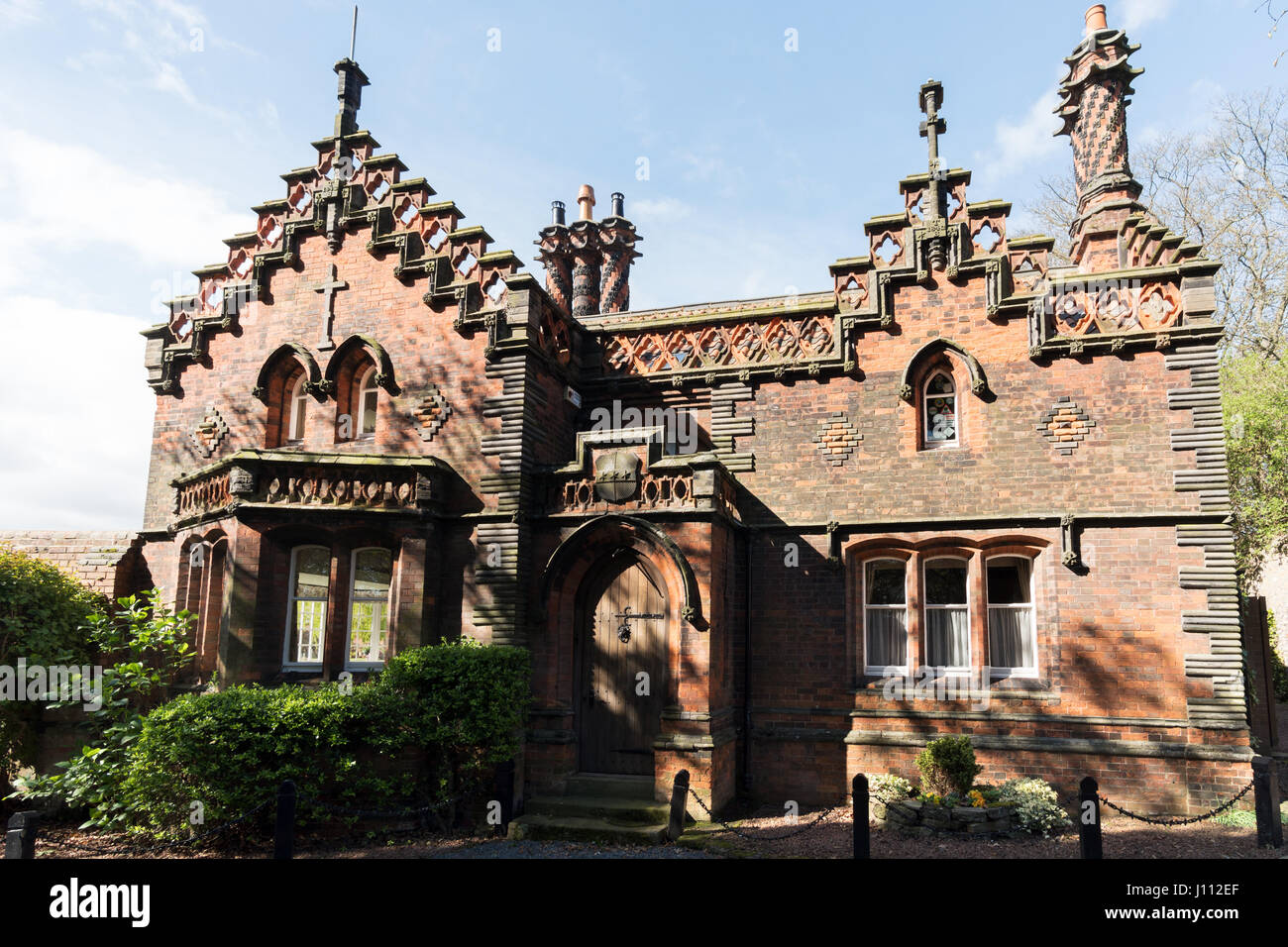 The Red Cottage, listed Victorian building, Whitburn Village, South Tyneside, England, UK - Stock Image