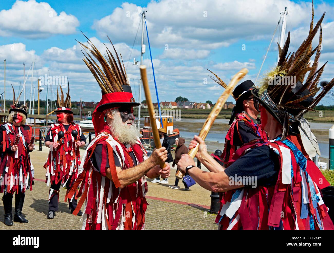 The Dark Horse morris troupe performing in Maldon, Essex. England UK - Stock Image