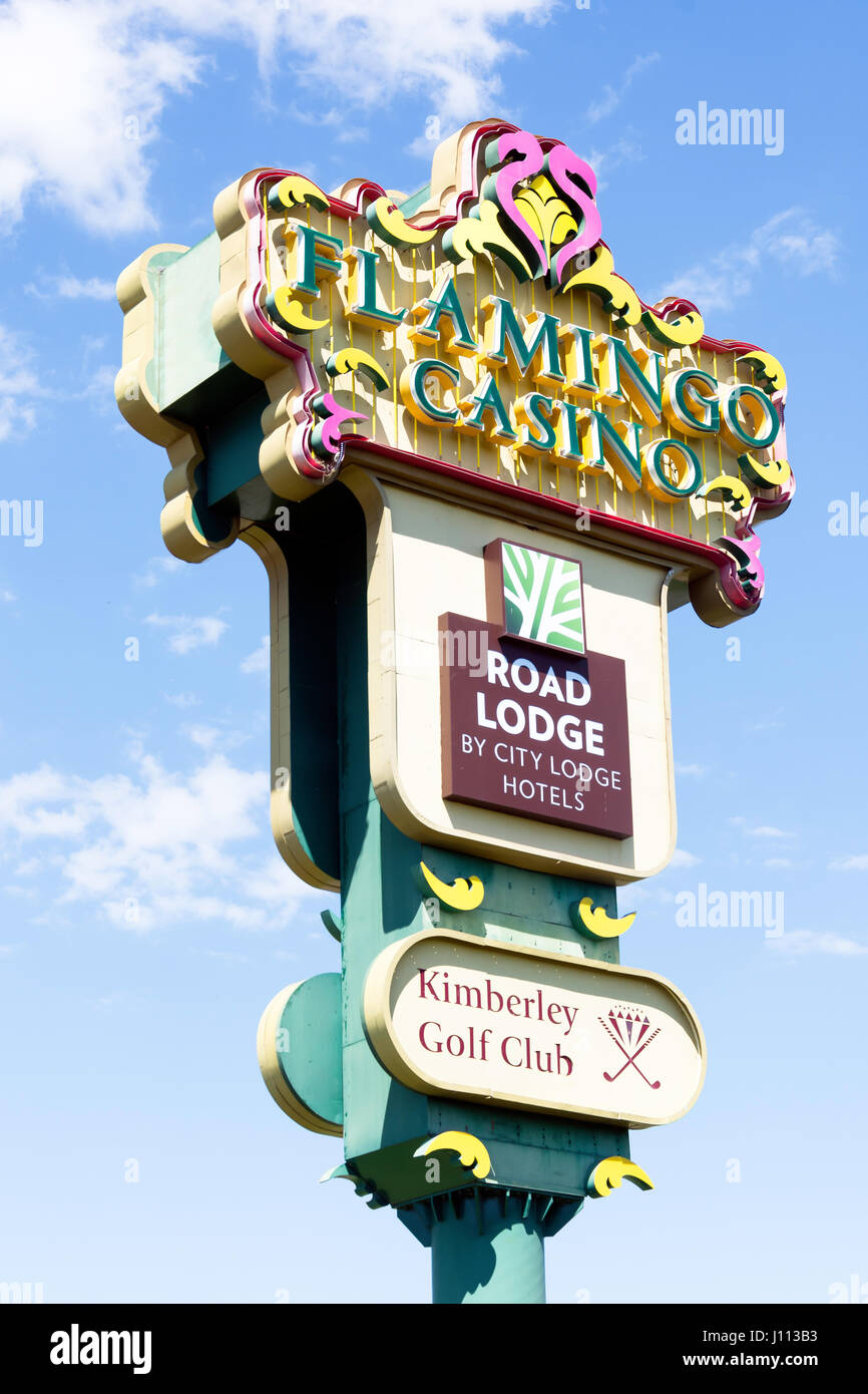 Flamengo Casino entrance sign, Transvaal Rd, Memorial Road Area, Kimberley, Northern Cape Province, Republic of - Stock Image