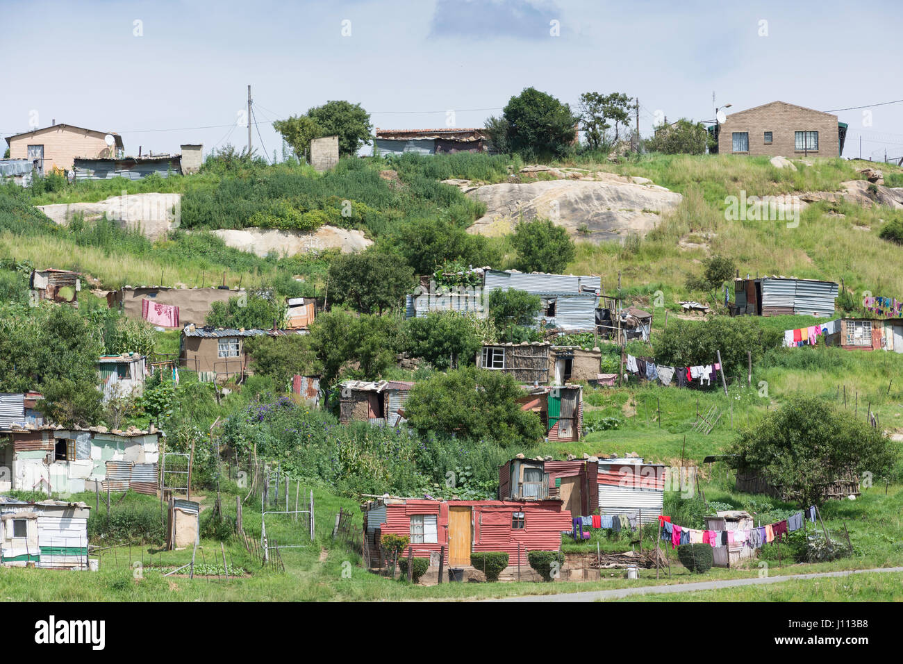 Black township shacks outside Clarens, Free State Province, South Africa - Stock Image