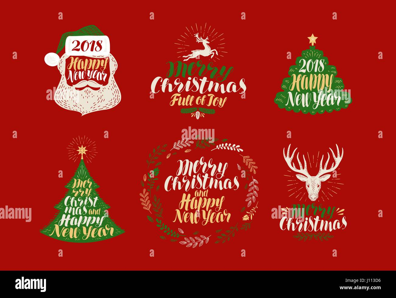 merry christmas and happy new year label set xmas icons or logos lettering calligraphy vector illustration