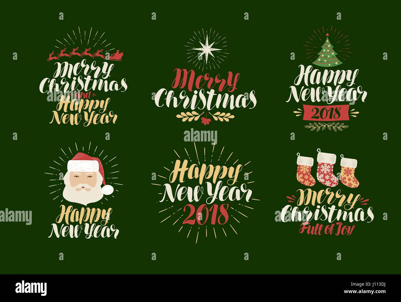 merry christmas happy new year label set xmas yuletide holiday icon or logo lettering calligraphy vector illustration