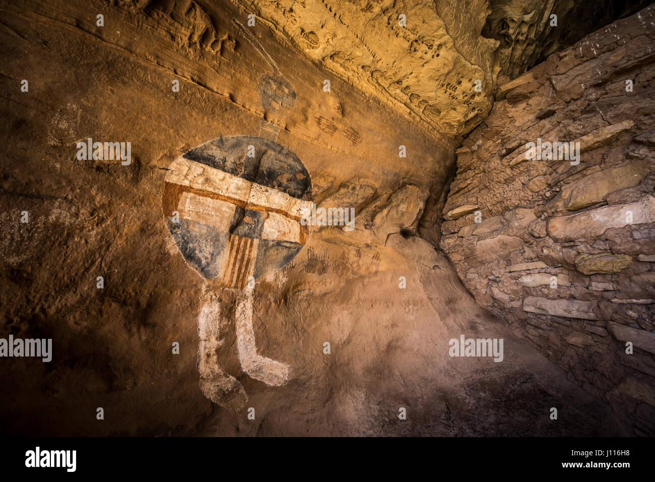 All American Man pictograph, Salt Creek, Canyonlands National Park, Utah. - Stock Image
