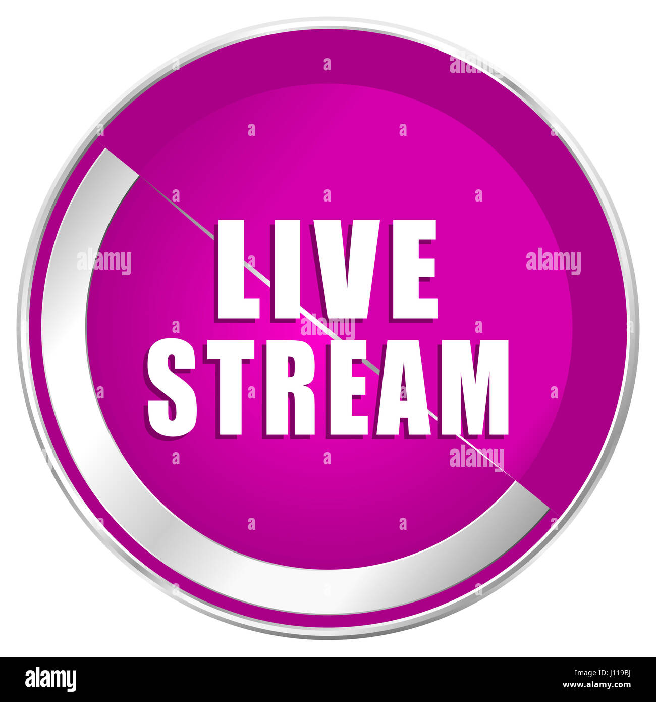 Live stream web design violet silver metallic border internet icon. - Stock Image