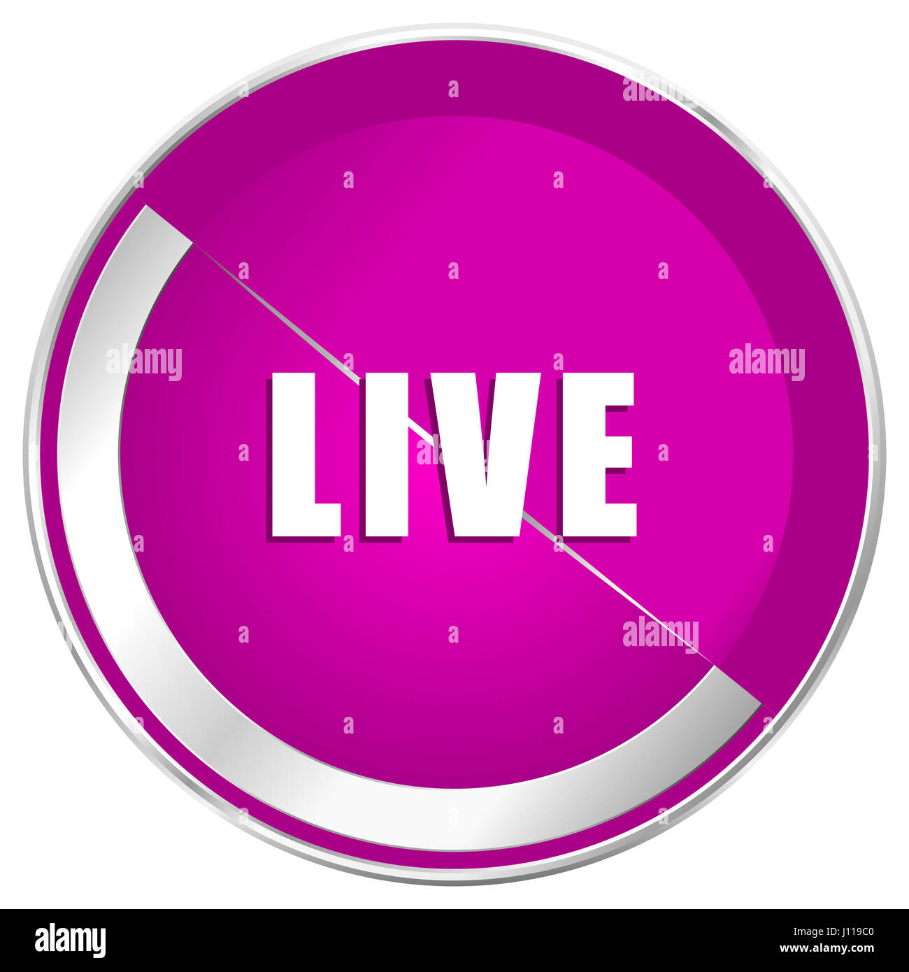 Live web design violet silver metallic border internet icon. - Stock Image