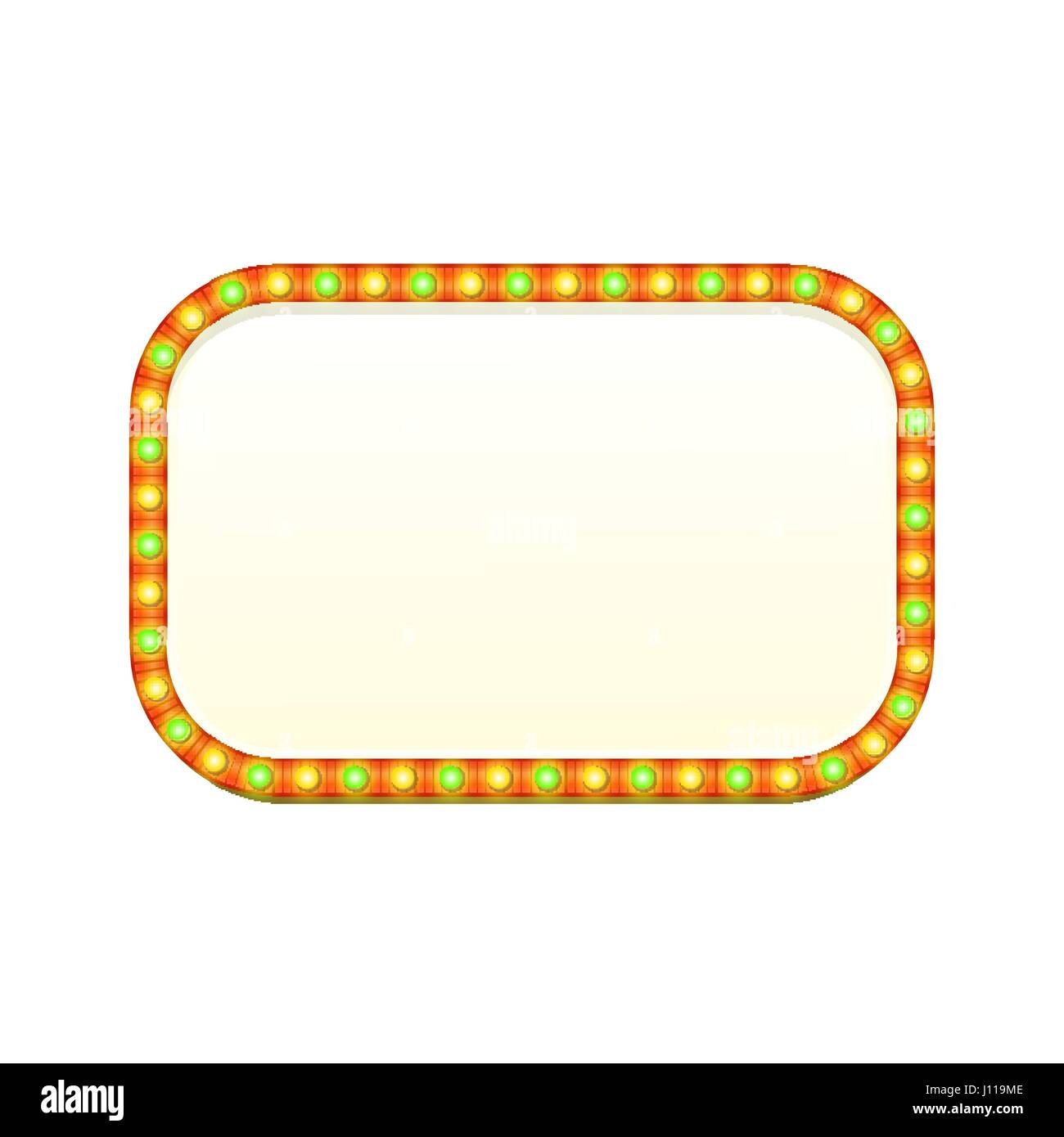 Blank 3d rectangular retro light banner with shining lights. Red sign with green and yellow bulbs and blank space - Stock Vector